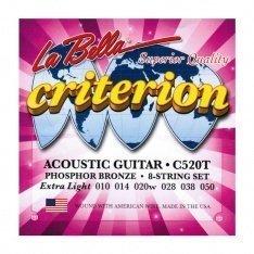 Струни для акустичної гітари La Bella C520T Criterion Acoustic Guitar, Phosphor Bronze – Extra Light