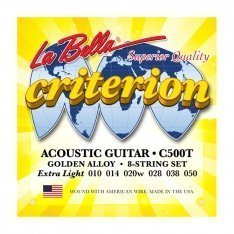 Струни для акустичної гітари La Bella C500T Criterion Acoustic Guitar, Golden Alloy – Extra Light