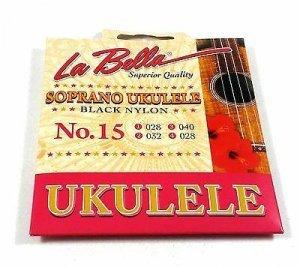 Струни для укулеле La Bella 15 Soprano Ukulele, Black Nylon